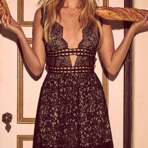 For Love and Lemons mini black lace dress